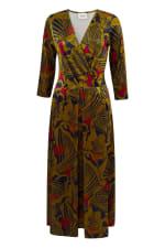Olive Wrap Long Sleeve Dress - 5