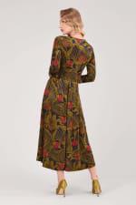 Olive Wrap Long Sleeve Dress - 2
