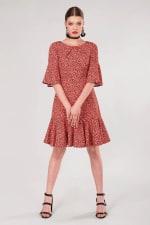 Orange Star Flute Sleeve A - Line Dress - 3