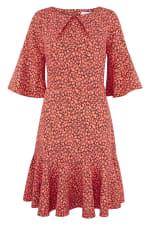 Orange Star Flute Sleeve A - Line Dress - 1
