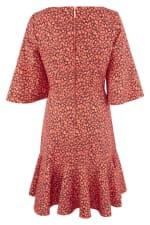 Orange Star Flute Sleeve A - Line Dress - 2