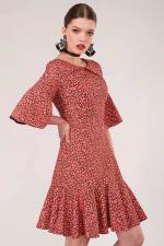 Orange Star Flute Sleeve A - Line Dress - 5