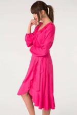 Pink Long Sleeve V-Neck Frill Wrap Dress - 4