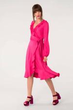 Pink Long Sleeve V-Neck Frill Wrap Dress - 3