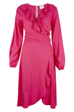 Pink Long Sleeve V-Neck Frill Wrap Dress - 5