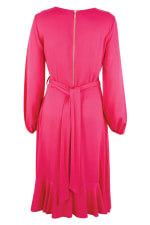 Pink Long Sleeve V-Neck Frill Wrap Dress - 2