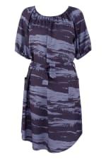 Blue Printed Gathered Raglan Sleeve Dress - 3