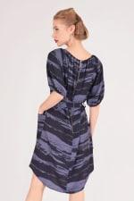 Blue Printed Gathered Raglan Sleeve Dress - 2