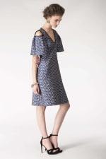 Blue Metallic Cold Shoulder Jacquard Dress - 4