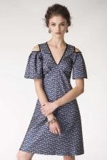 Blue Metallic Cold Shoulder Jacquard Dress - 3