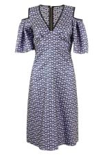 Blue Metallic Cold Shoulder Jacquard Dress - 1