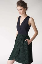 Metallic Navy & Green 2-in-1 Floral Print Wrap Dress - 1