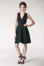 Metallic Navy & Green 2-in-1 Floral Print Wrap Dress - 3