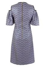 Blue Metallic Cold Shoulder Jacquard Dress - 2
