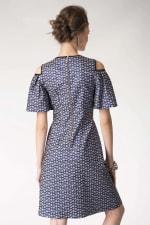 Blue Metallic Cold Shoulder Jacquard Dress - 6