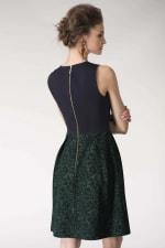 Metallic Navy & Green 2-in-1 Floral Print Wrap Dress - 2