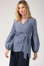 Navy Puff Sleeve Pleated Wrap Blouse - 1