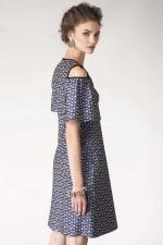 Blue Metallic Cold Shoulder Jacquard Dress - 5