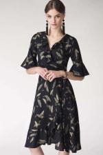 Navy Feather Print Wrap Dress - 4