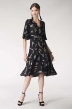 Navy Feather Print Wrap Dress - 5