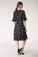 Navy Feather Print Wrap Dress - 6