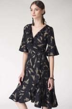 Navy Feather Print Wrap Dress - 3