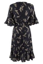 Navy Feather Print Wrap Dress - 2