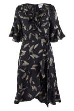 Navy Feather Print Wrap Dress - 1