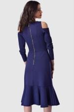 Blue Cold Shoulder Jersey Pep Hem Dress - 2