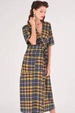 Lime Checked Midi Kimono Dress - 1