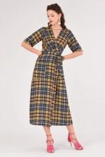Lime Checked Midi Kimono Dress - 5
