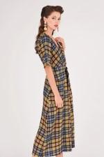 Lime Checked Midi Kimono Dress - 4