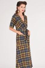 Lime Checked Midi Kimono Dress - 3
