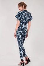 Navy Floral Wrap Front Kimono Jumpsuit - 3