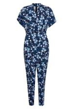 Navy Floral Wrap Front Kimono Jumpsuit - 5