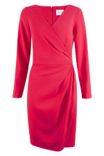 Pink Pleated V-Neck Pencil Wrap Dress - 1