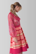 Pink Lace Long Sleeve High Collar Blouse - 3