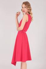 Pink Asymmetric Hem Dress - 3