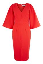 Red V-Neck Flared Sleeve Pencil Dress - 4