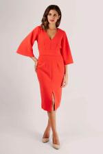 Red V-Neck Flared Sleeve Pencil Dress - 3