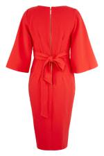 Red V-Neck Flared Sleeve Pencil Dress - 5