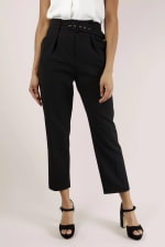Black Paper Bag Trousers With Belt - 1