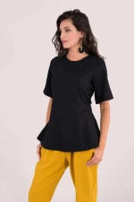 Black Short Sleeve Top With Tie Waist - 2