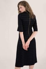 Black Satin Stripe Wrap Midi Dress - 2