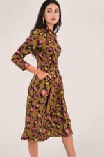 Leopard Print Midi Shirt Dress - 5