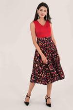 Closet Gold Red Print Pleated Skirt Dress - 3