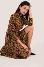 Leopard Print Midi Shirt Dress - 4