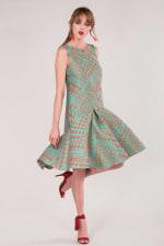 Closet Gold Turquoise Flared Hem Dress - 4