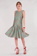 Closet Gold Turquoise Flared Hem Dress - 3