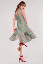 Closet Gold Turquoise Flared Hem Dress - 5